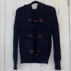 Navy Cable Knit Sweater with Leather Buttons